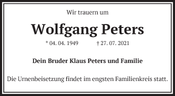 Anzeige Wolfgang Peters