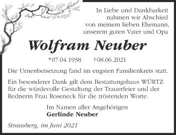 Anzeige Wolfram Neuber