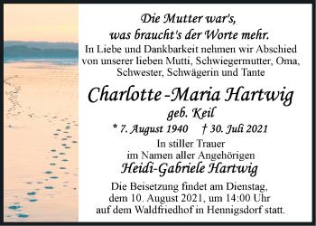 Anzeige Charlotte-Maria Hartwig