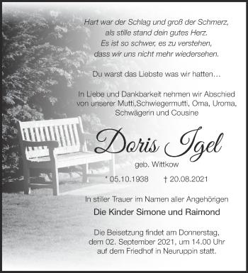 Anzeige Doris Igel