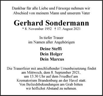 Anzeige Gerhard Sondermann