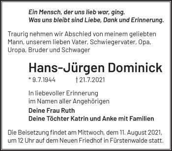 Anzeige Hans-Jürgen Dominick