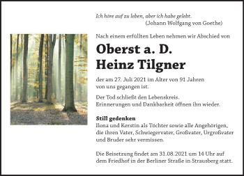 Anzeige Heinz Tilgner