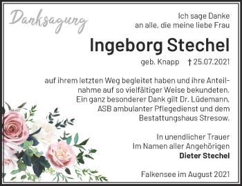 Anzeige Ingeborg Stechel