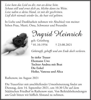 Anzeige Ingrid Heinrich
