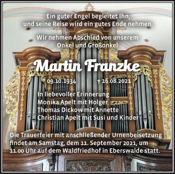 Anzeige Martin Franzke