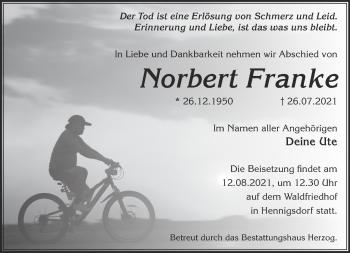 Anzeige Norbert Franke