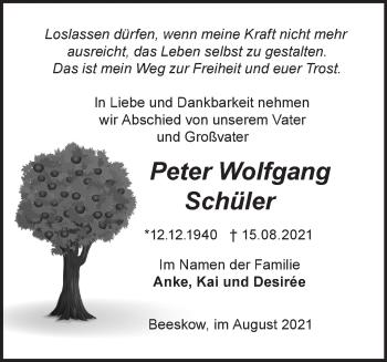 Anzeige Peter Wolfgang Schüler