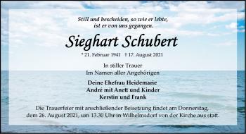 Anzeige Sieghart Schubert