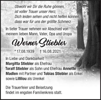 Anzeige Werner Stiebler