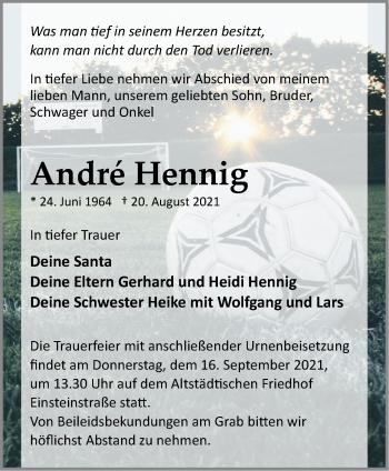 Anzeige André Hennig