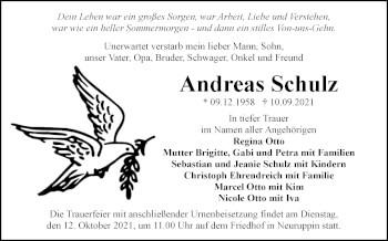Anzeige Andreas Schulz