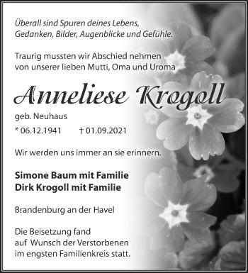 Anzeige Anneliese Krogoll
