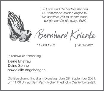 Anzeige Bernhard Krienke