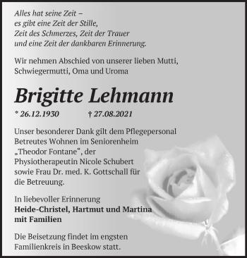 Anzeige Brigitte Lehmann