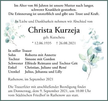 Anzeige Christa Kurzeja