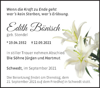 Anzeige Edith Bönisch
