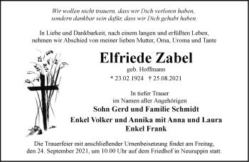 Anzeige Elfriede Zabel