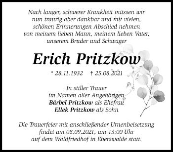 Anzeige Erich Pritzkow