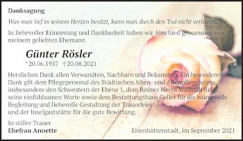 Anzeige Günter Rösler