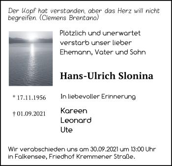 Anzeige Hans-Ulrich Slonina