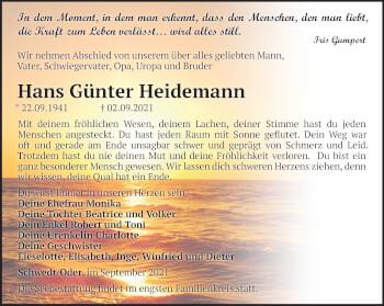 Anzeige Hans Günter Heidemann