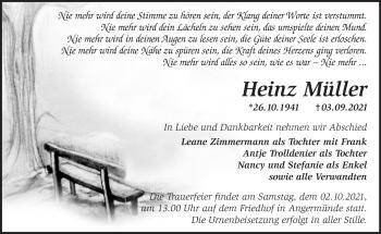 Anzeige Heinz Müller