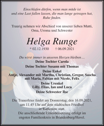 Anzeige Helga Runge
