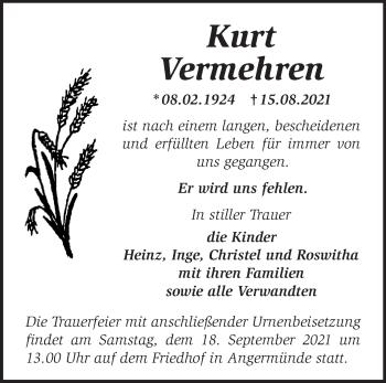 Anzeige Kurt Vermehren