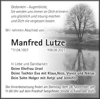 Anzeige Manfred Lutze