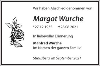 Anzeige Margot Wurche