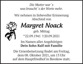 Anzeige Margret Noack