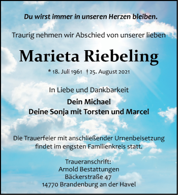 Anzeige Marieta Riebeling