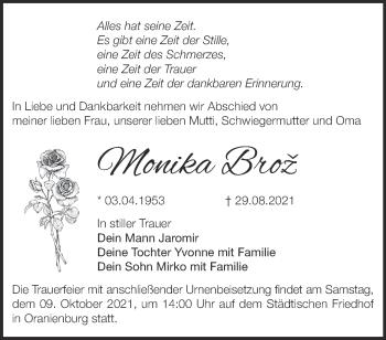 Anzeige Monika Broz