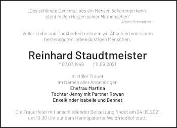 Anzeige Reinhard Staudtmeister