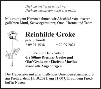 Anzeige Reinhilde Groke