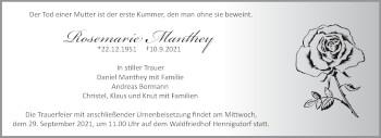 Anzeige Rosemarie Manthey