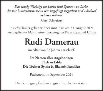 Anzeige Rudi Damerau