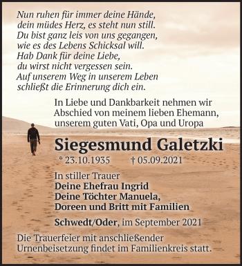 Anzeige Siegesmund Galetzki