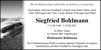Anzeige Siegfried Bohlmann